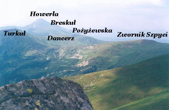 Fragment grani Czarnohory. Od lewej: Turkuł, Breskuł, Howerla, Pożyżewska, Dancerz